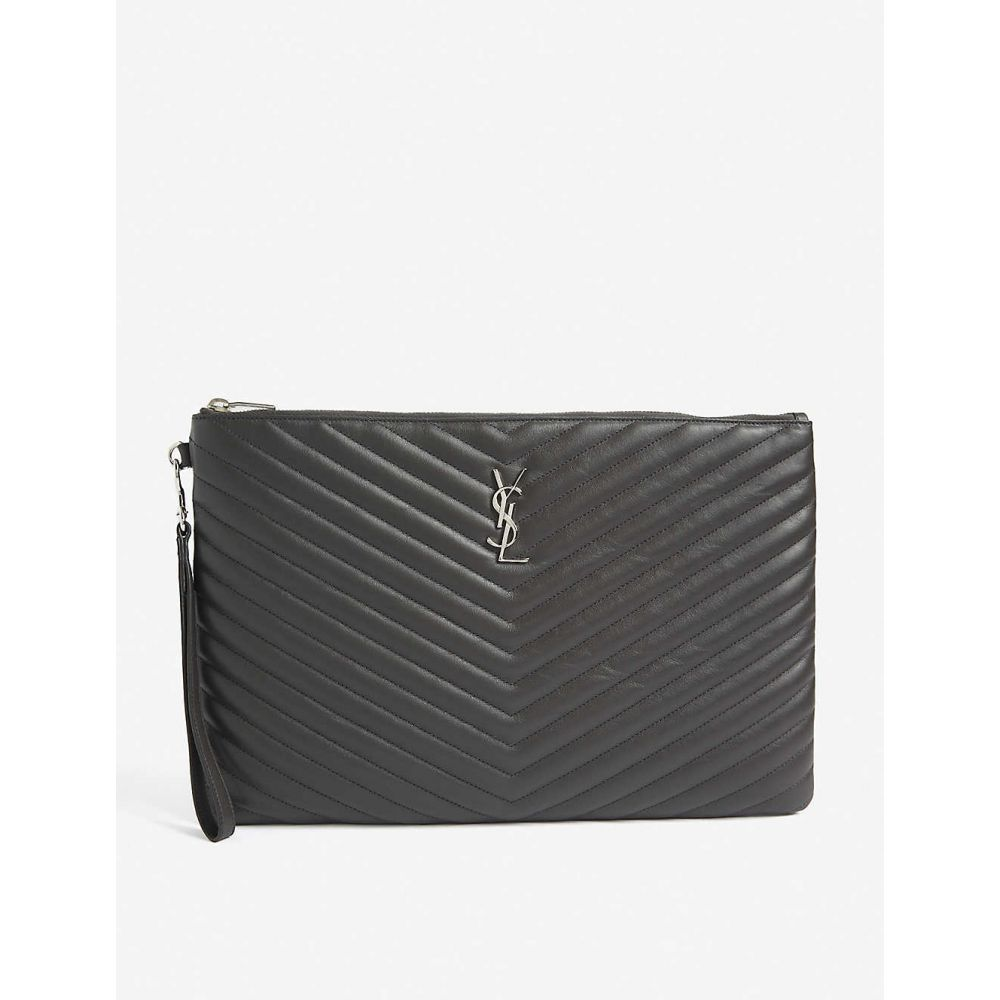 イヴ サンローラン SAINT LAURENT レディース ポーチ 【Monogram quilted leather document holder】Grey