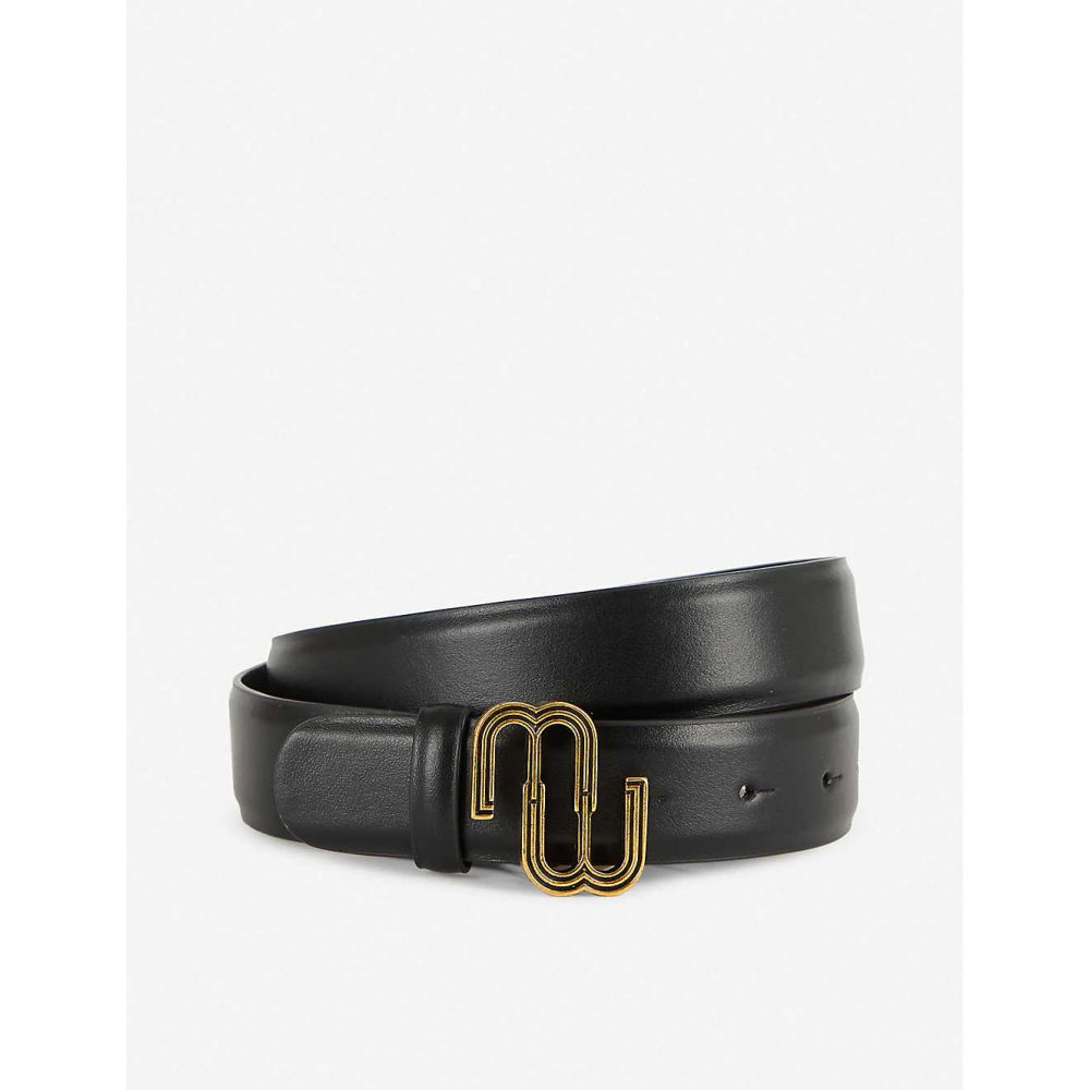 マージュ MAJE レディース ベルト 【Logo-buckle leather belt】BLACK