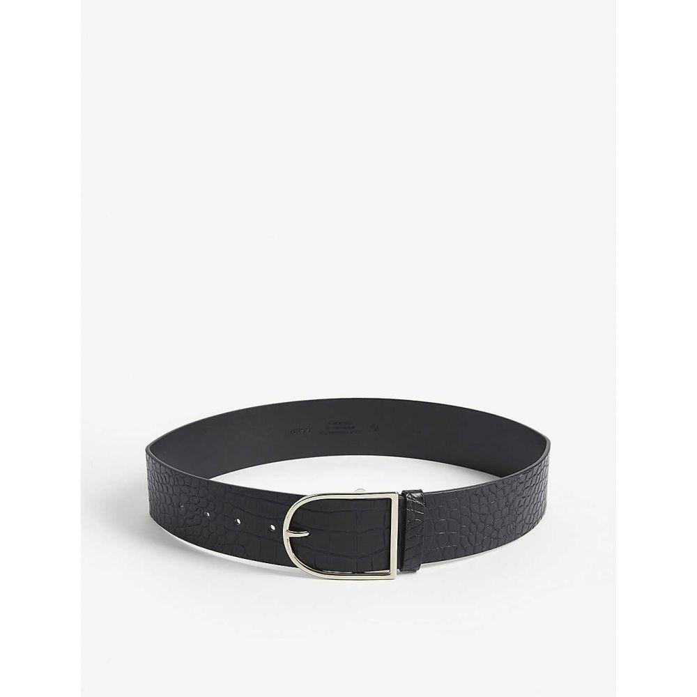 リース REISS レディース ベルト 【Isabelle croc-embossed leather wallet】BLACK