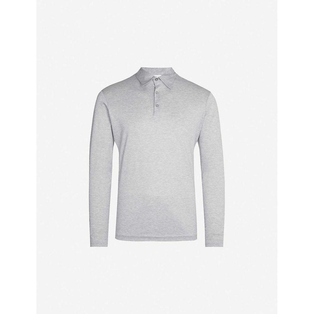 リチャード ジェームス RICHARD JAMES メンズ ポロシャツ トップス【Fitted wool and cotton-blend polo shirt】Grey