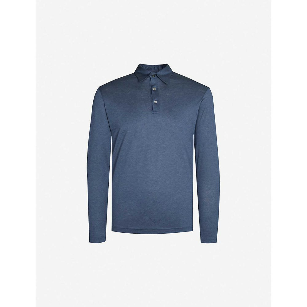 リチャード ジェームス RICHARD JAMES メンズ ポロシャツ トップス【Fitted wool and cotton-blend polo shirt】Ocean