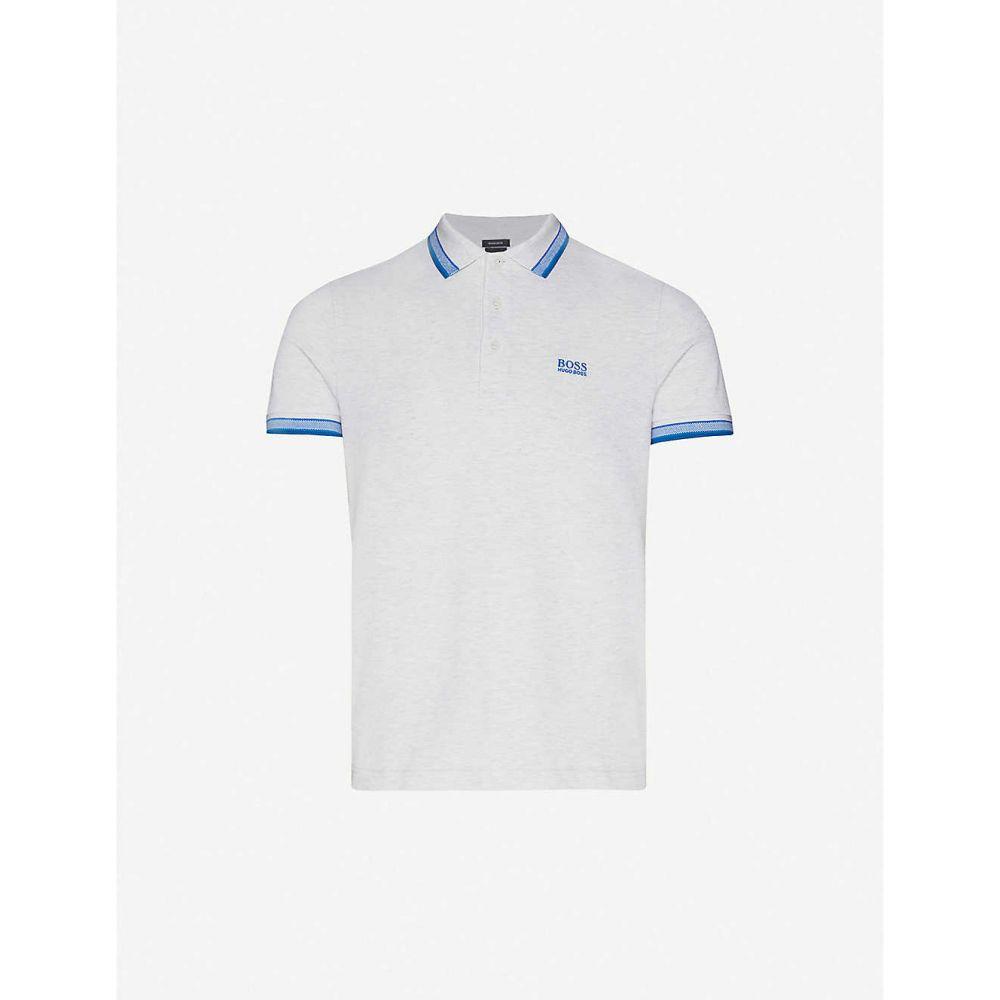 ヒューゴ ボス BOSS メンズ ポロシャツ トップス【Logo-embroidered slim-fit cotton-pique polo shirt】Light/Pastel Grey