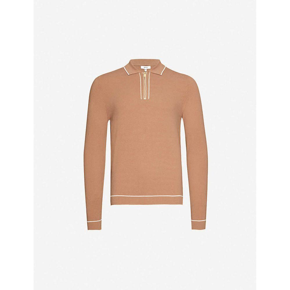 リース REISS メンズ ポロシャツ トップス【Lanark contrast-trim cotton-blend polo shirt】CAMEL
