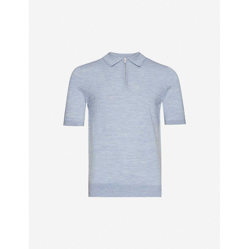 リース REISS メンズ ポロシャツ トップス【Maxwell merino wool polo shirt】BLUE MOULINE