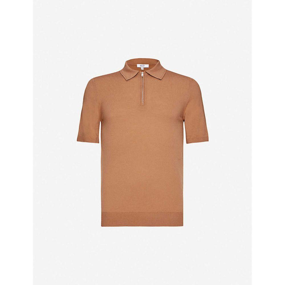 リース REISS メンズ ポロシャツ トップス【Maxwell merino wool polo shirt】CAMEL
