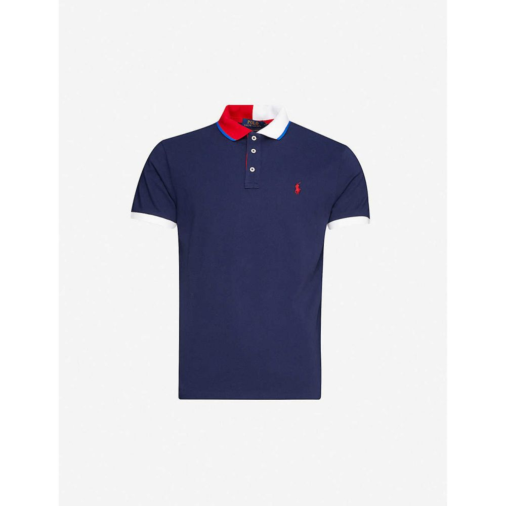 ラルフ ローレン POLO RALPH LAUREN メンズ ポロシャツ トップス【Contrast-collar cotton-jersey polo shirt】Navy