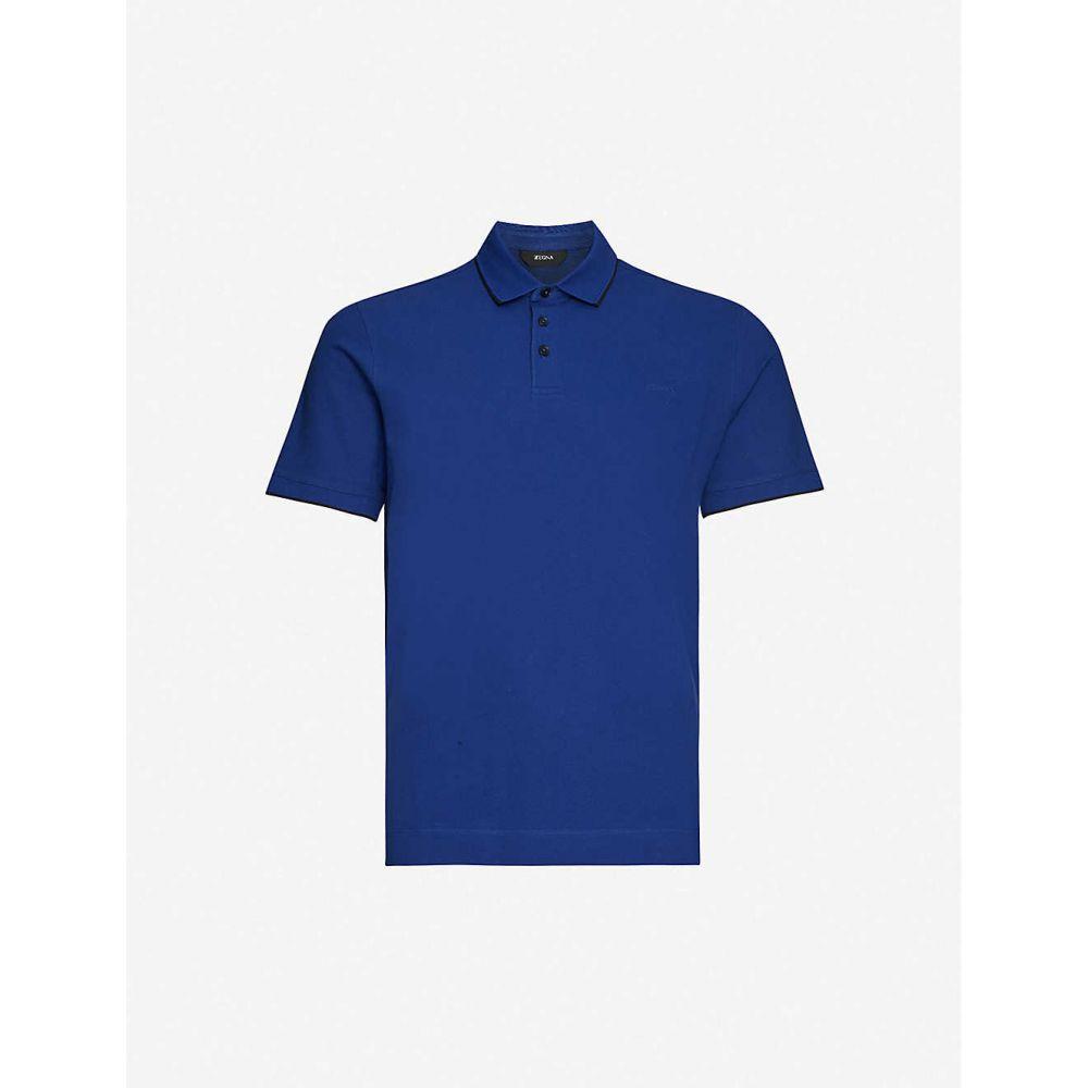 ジーゼニア Z ZEGNA メンズ ポロシャツ トップス【Brand-appliqued cotton-blend pique polo shirt】BLUE