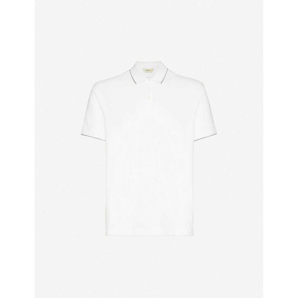 ジーゼニア Z ZEGNA メンズ ポロシャツ トップス【Brand-appliqued cotton-blend pique polo shirt】White