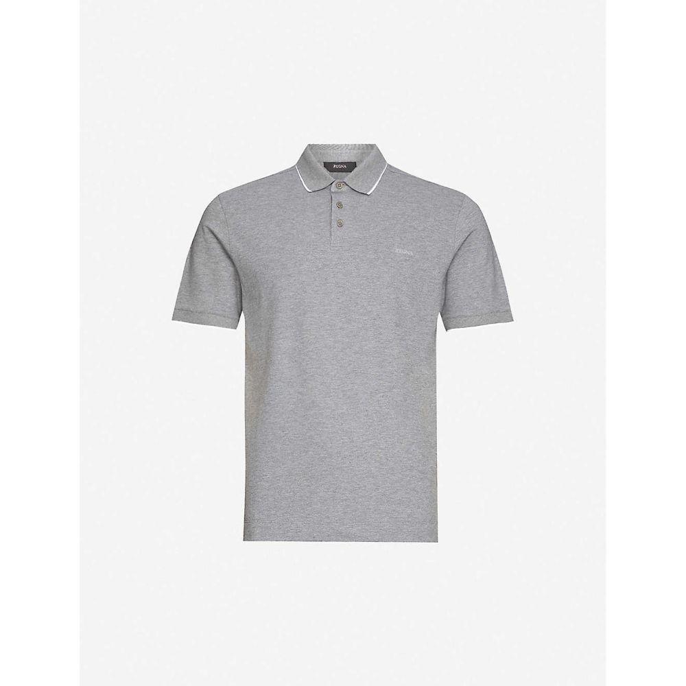 ジーゼニア Z ZEGNA メンズ ポロシャツ トップス【Brand-appliqued cotton-blend pique polo shirt】Grey