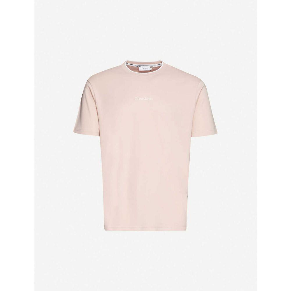 カルバンクライン CALVIN KLEIN メンズ Tシャツ トップス【Compact logo cotton-jersey T-shirt】Nude Lustre