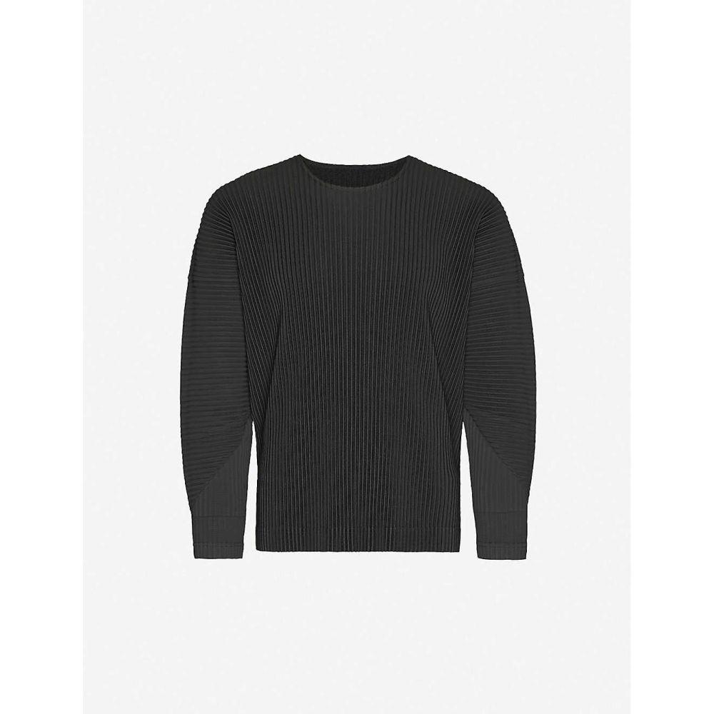 イッセイ ミヤケ HOMME PLISSE ISSEY MIYAKE メンズ 長袖Tシャツ トップス【Pleated relaxed-fit crewneck woven top】Black