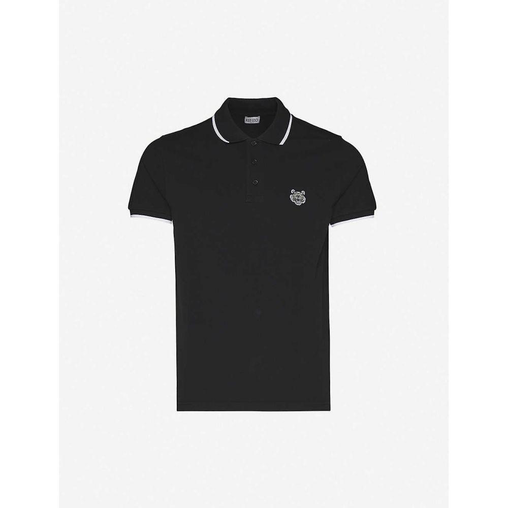 ケンゾー KENZO メンズ ポロシャツ トップス【Tiger-embroidered cotton-pique polo shirt】BLACK