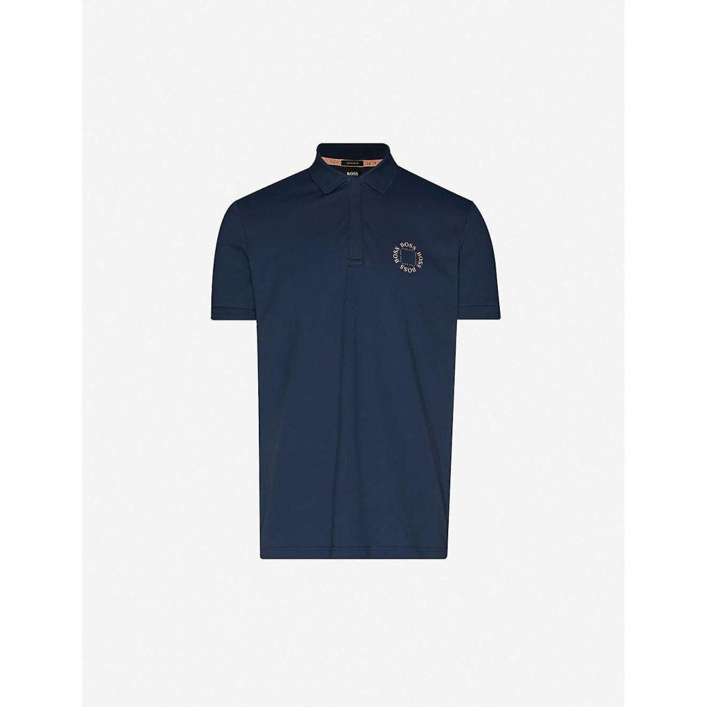 ヒューゴ ボス BOSS メンズ ポロシャツ トップス【Logo-print cotton-jersey polo shirt】Navy