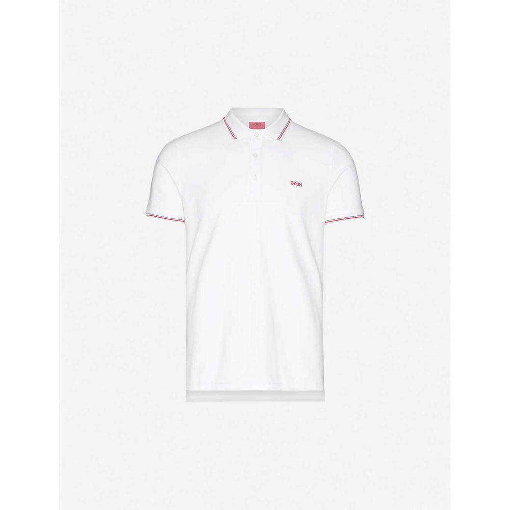 ヒューゴ ボス HUGO メンズ ポロシャツ トップス【Logo-embroidered stretch cotton-pique polo shirt】White