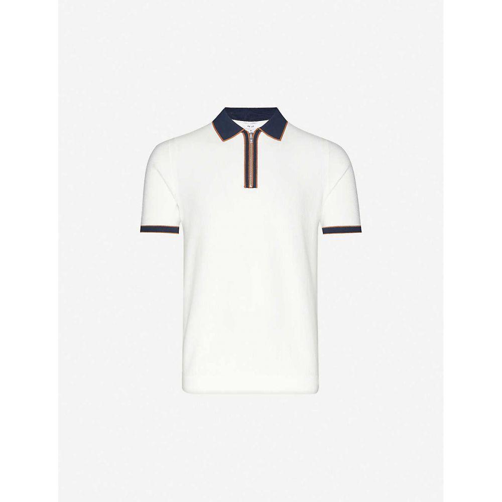 リース REISS メンズ ポロシャツ トップス【Tobago cotton-knit polo shirt】WHITE