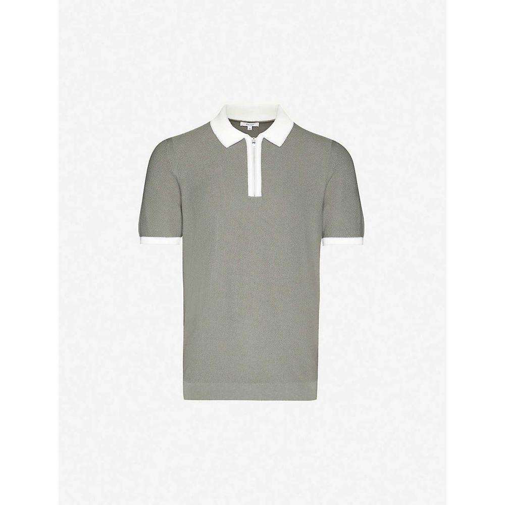リース REISS メンズ ポロシャツ トップス【Tobago cotton-knit polo shirt】GREEN
