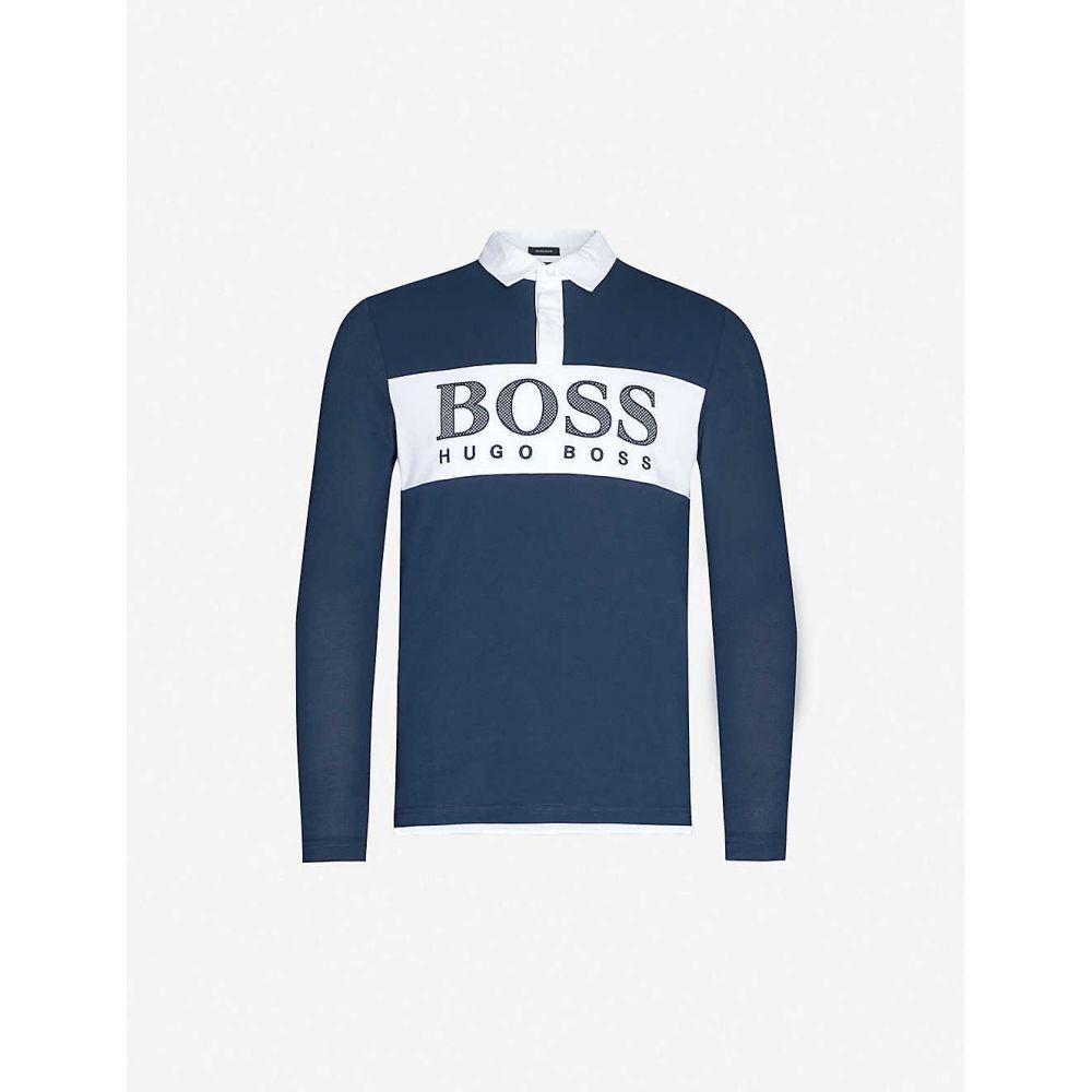 ヒューゴ ボス BOSS メンズ ポロシャツ トップス【Logo-print cotton-blend polo shirt】Navy