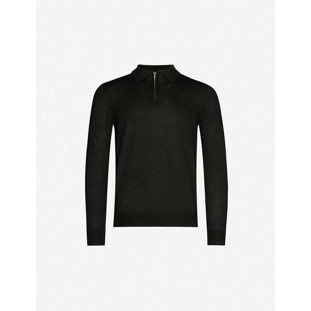 リース REISS メンズ ポロシャツ トップス【Robertson wool polo shirt】BLACK