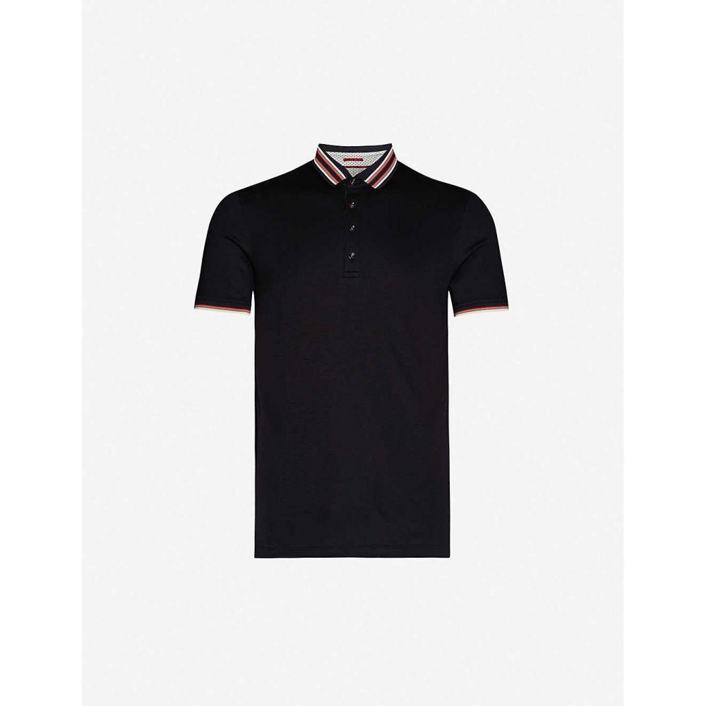 テッドベーカー TED BAKER メンズ ポロシャツ トップス【Teacups striped-trim stretch-jersey polo shirt】NAVY