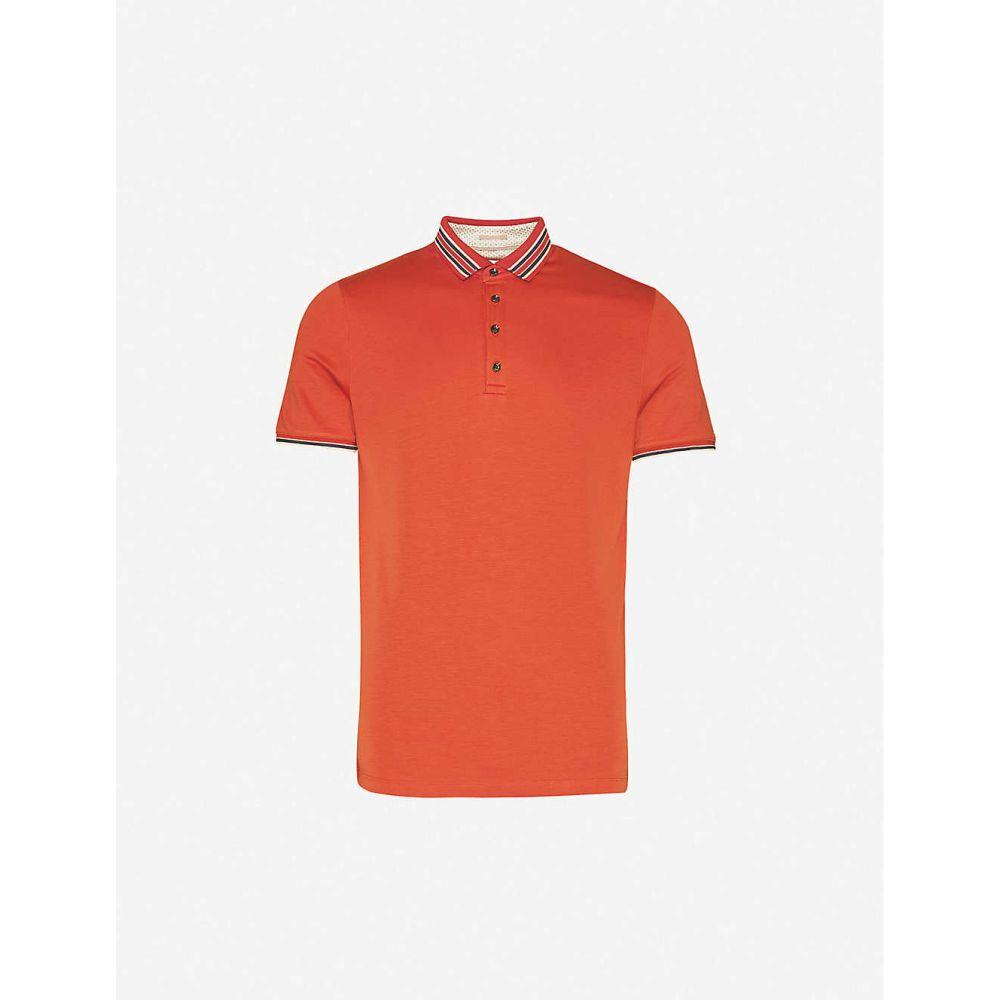 テッドベーカー TED BAKER メンズ ポロシャツ トップス【Teacups striped-trim stretch-jersey polo shirt】DK/ORANGE