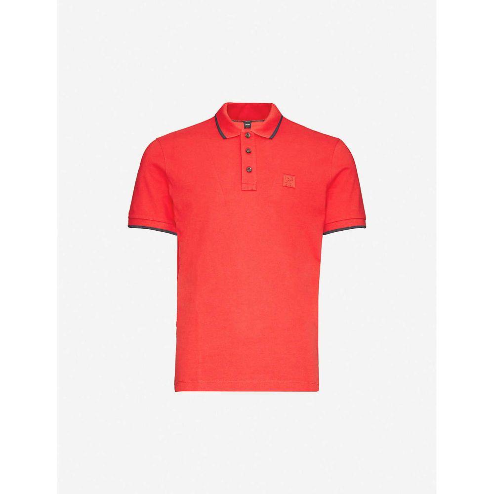 ヒューゴ ボス BOSS メンズ ポロシャツ トップス【Slim-fit cotton-pique polo shirt】Medium Red