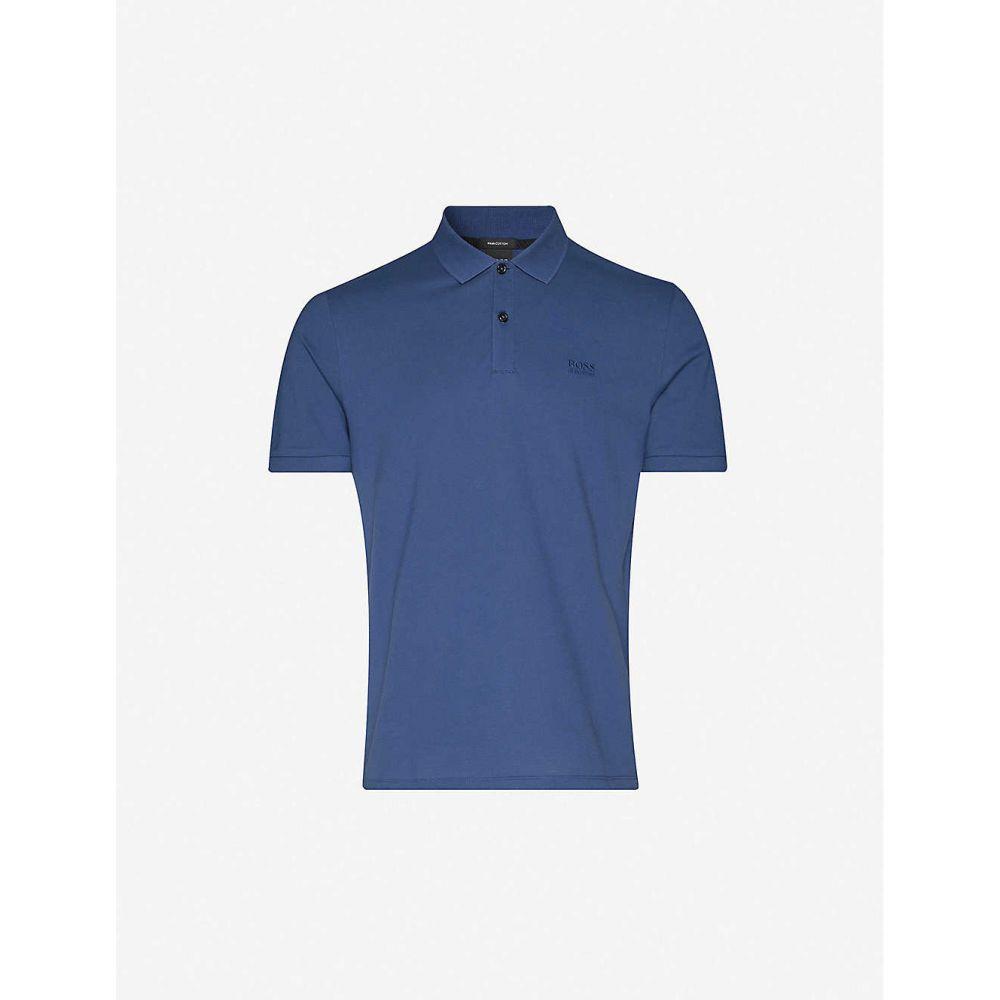 ヒューゴ ボス BOSS メンズ ポロシャツ トップス【Logo-embroidered cotton-pique polo shirt】Dark Blue