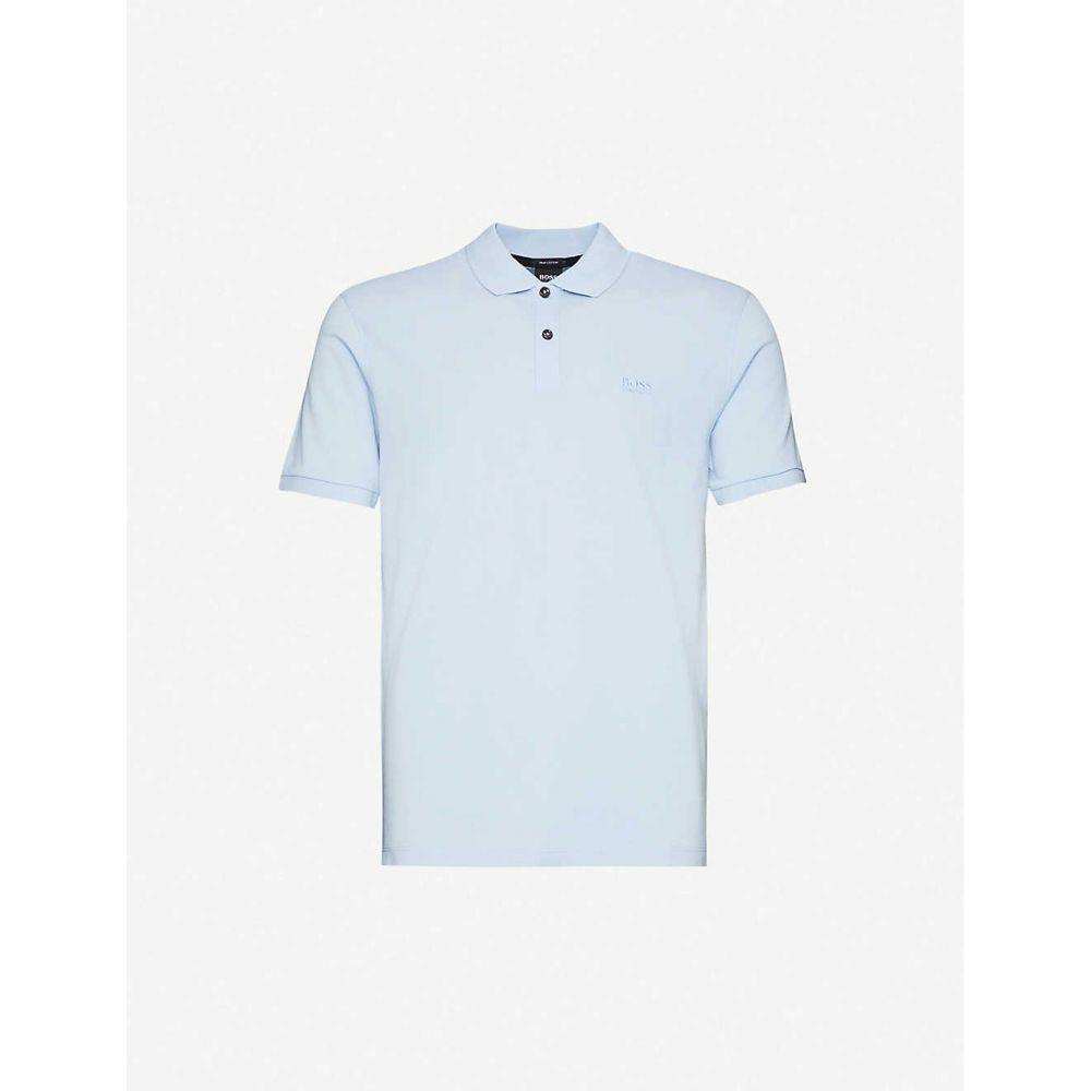 ヒューゴ ボス BOSS メンズ ポロシャツ トップス【Logo-embroidered cotton-pique polo shirt】Light/Pastel Blue