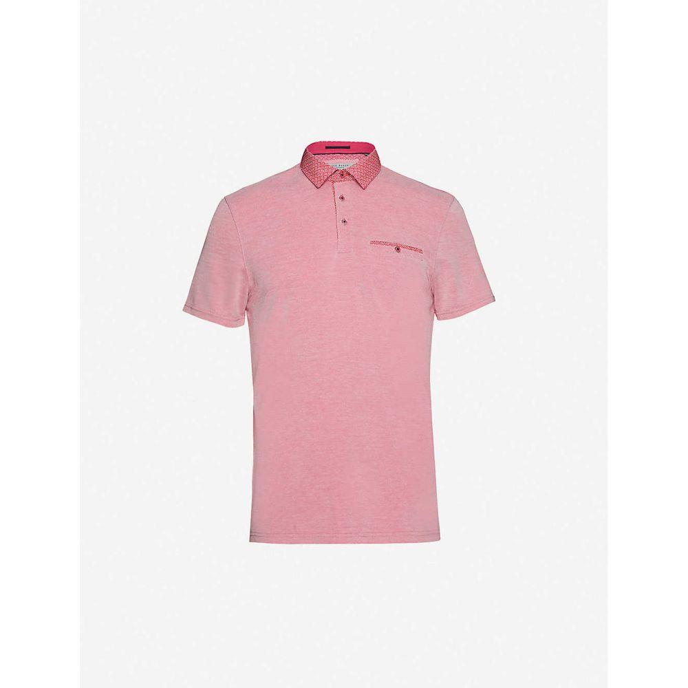 テッドベーカー TED BAKER メンズ ポロシャツ トップス【Contrast-collar woven polo shirt】PINK