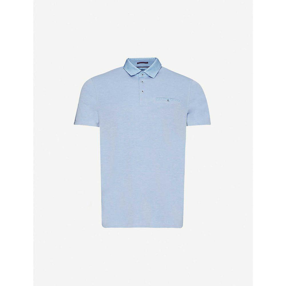 テッドベーカー TED BAKER メンズ ポロシャツ トップス【Contrast-collar woven polo shirt】LT/BLUE