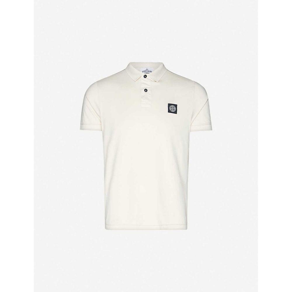 ストーンアイランド STONE ISLAND メンズ ポロシャツ トップス【Logo-embroidered cotton-jersey polo shirt】BEIGE