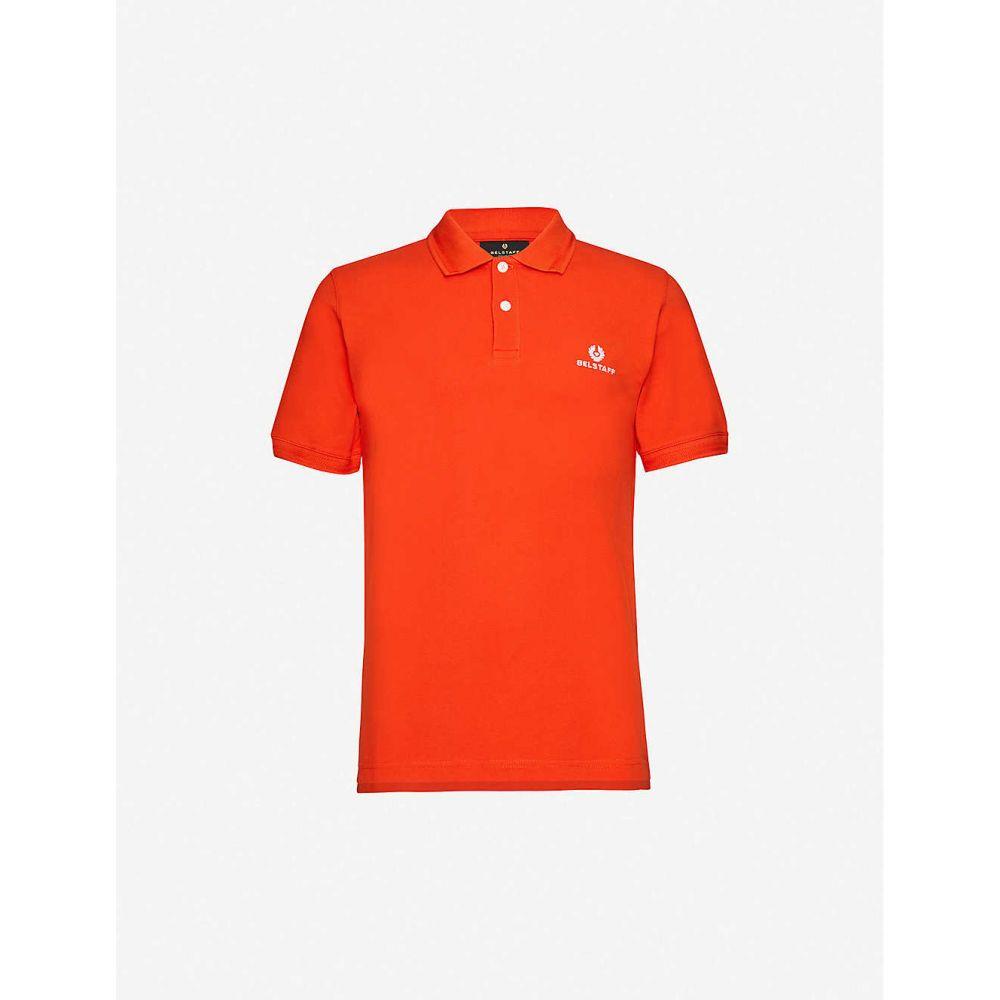 ベルスタッフ BELSTAFF メンズ ポロシャツ トップス【Brand-embroidery relaxed-fit cotton-pique polo shirt】Orange