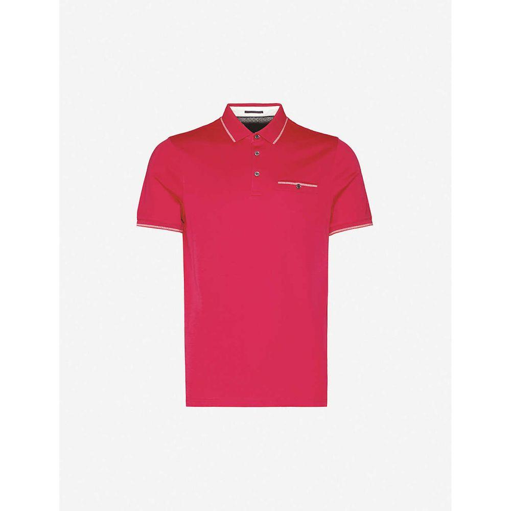 テッドベーカー TED BAKER メンズ ポロシャツ トップス【Contrast-trim cotton polo shirt】DEEP/PINK