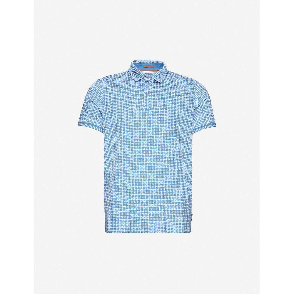 テッドベーカー TED BAKER メンズ ポロシャツ トップス【Geometric-print cotton polo shirt】MID/BLUE