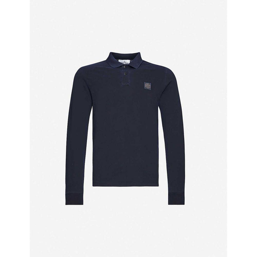 ストーンアイランド STONE ISLAND メンズ ポロシャツ トップス【Logo-print cotton-pique polo shirt】Navy Blue
