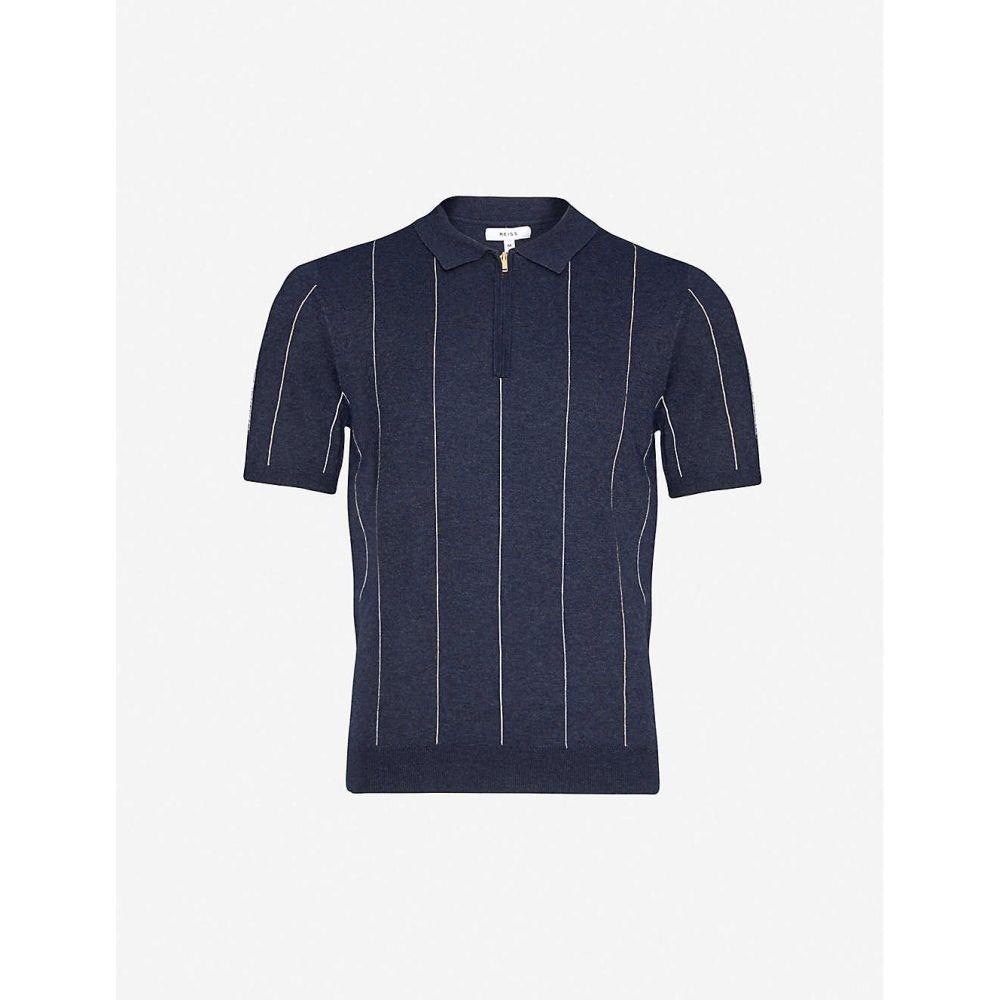 リース REISS メンズ ポロシャツ トップス【Renfrew striped knitted polo shirt】NAVY