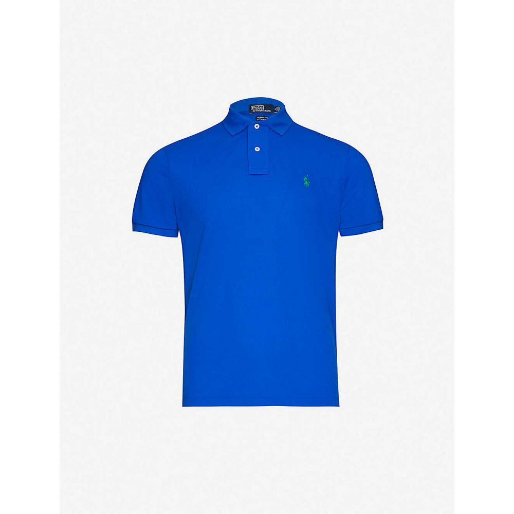 ラルフ ローレン POLO RALPH LAUREN メンズ ポロシャツ トップス【Logo-embroidered slim-fit pique polo shirt】Pacific Royal