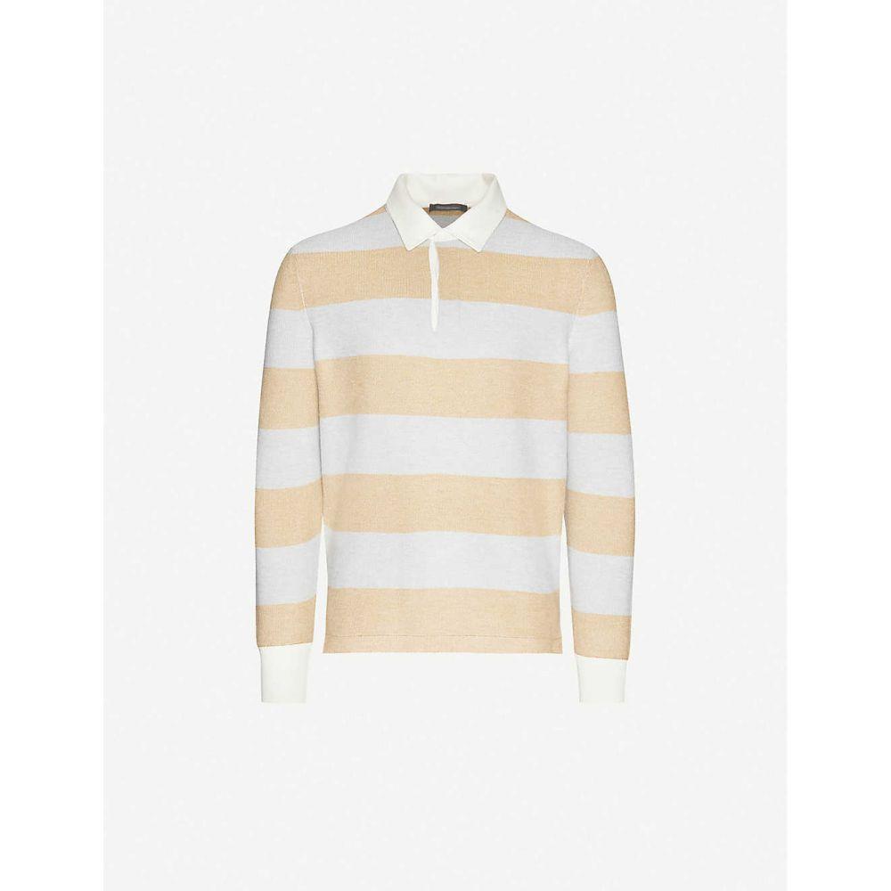 エルメネジルド ゼニア ERMENEGILDO ZEGNA メンズ ポロシャツ トップス【Striped cotton blend polo shirt】Yellow