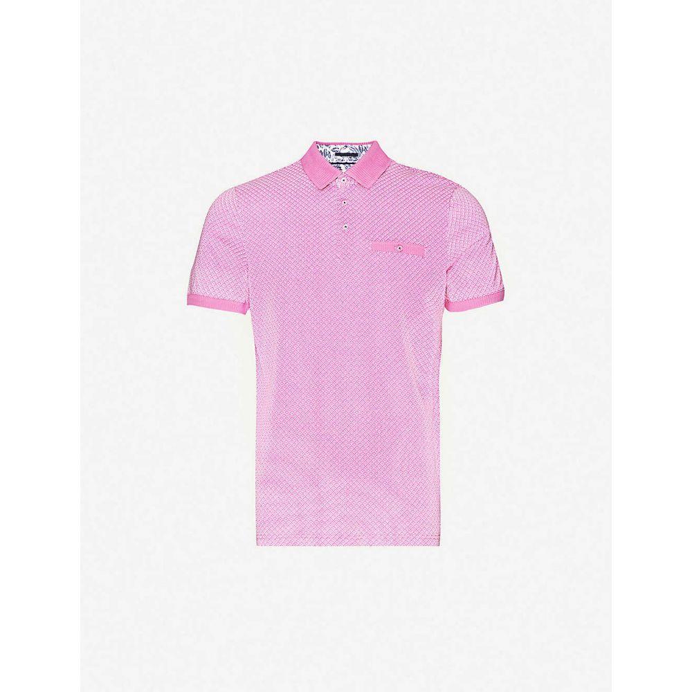 テッドベーカー TED BAKER メンズ ポロシャツ トップス【Geo-printed cotton-jersey polo shirt】PINK
