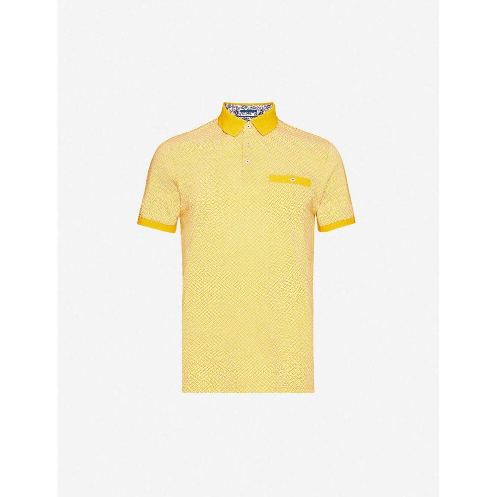 テッドベーカー TED BAKER メンズ ポロシャツ トップス【Geo-printed cotton-jersey polo shirt】YELLOW