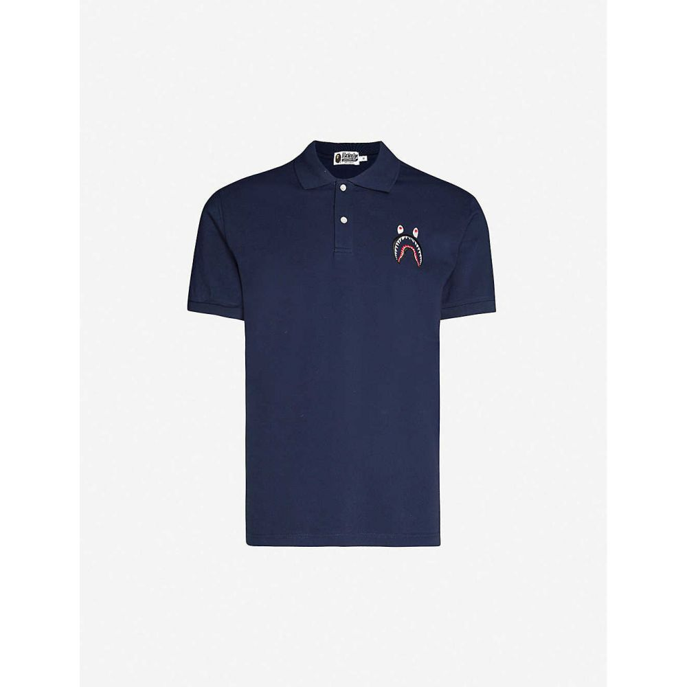 ア ベイシング エイプ A BATHING APE メンズ ポロシャツ トップス【Shark-embroidered cotton-pique polo shirt】NAVY