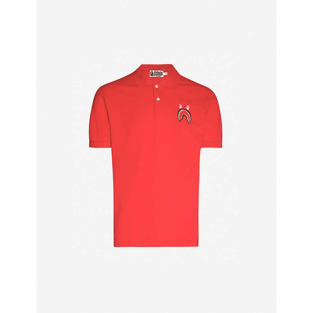 ア ベイシング エイプ A BATHING APE メンズ ポロシャツ トップス【Shark-embroidered cotton-pique polo shirt】RED