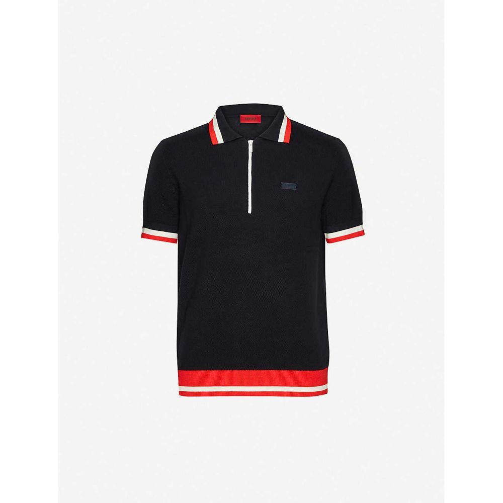 ヒューゴ ボス HUGO メンズ ポロシャツ トップス【Zip-neck cotton-blend polo shirt】Navy