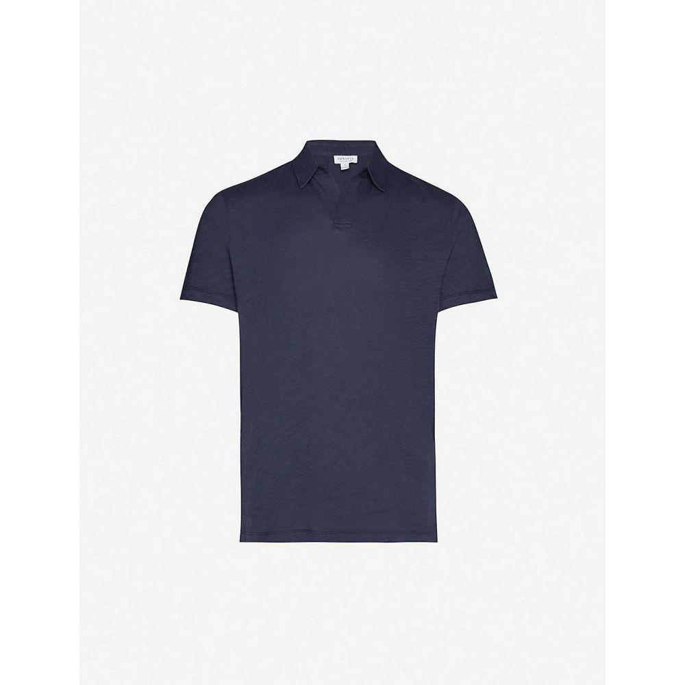サンスペル SUNSPEL メンズ ポロシャツ トップス【Slim-fit cotton-jersey polo shirt】Navy
