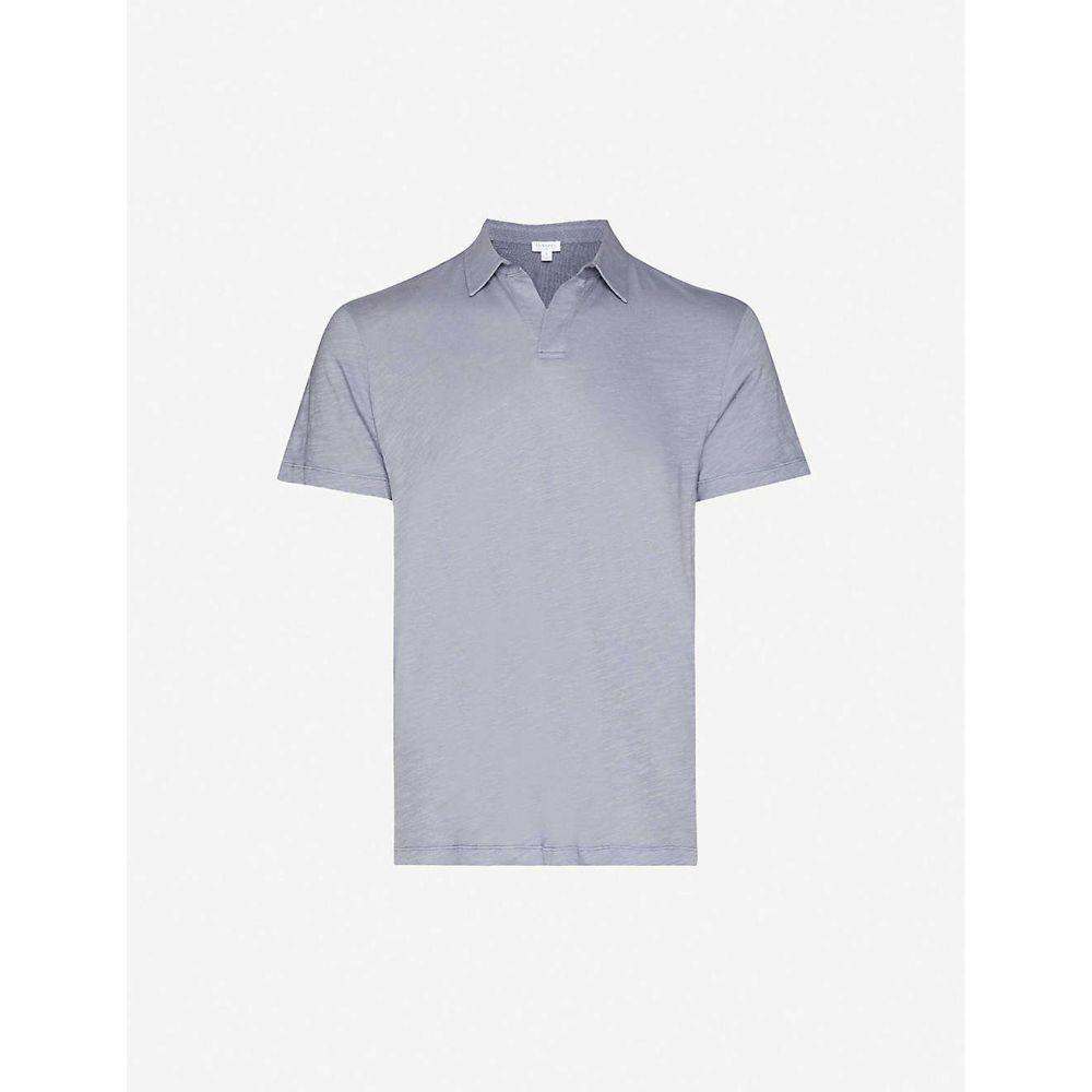 サンスペル SUNSPEL メンズ ポロシャツ トップス【Slim-fit cotton-jersey polo shirt】BLUE SLATE