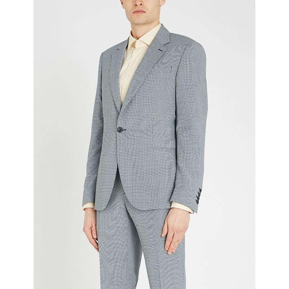 リース REISS メンズ スーツ・ジャケット アウター【Wangle puppytooth-patterned wool-blend blazer】BLUE/WHITE