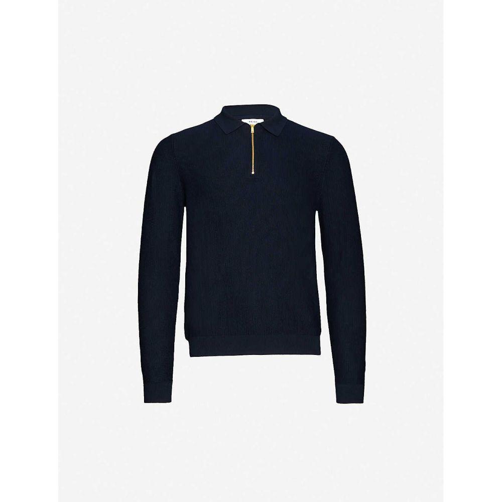 リース REISS メンズ ポロシャツ トップス【Matias cotton-knit polo shirt】NAVY