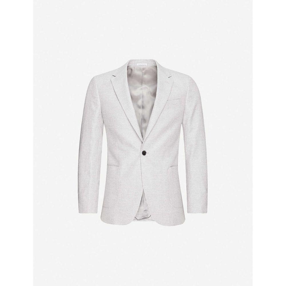 リース REISS メンズ スーツ・ジャケット アウター【Single-breasted regular-fit cotton and linen-blend blazer】SOFT GREY
