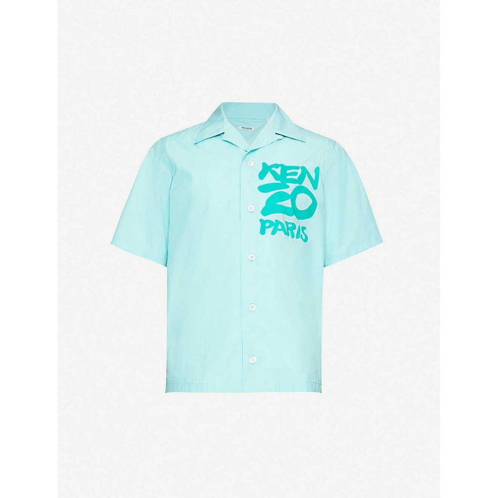 ケンゾー KENZO メンズ シャツ トップス【Logo-print cotton shirt】AQUA