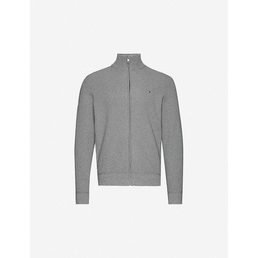 トミー ヒルフィガー TOMMY HILFIGER メンズ カーディガン トップス【Funnel-neck zipped cotton-blend knitted cardigan】Grey