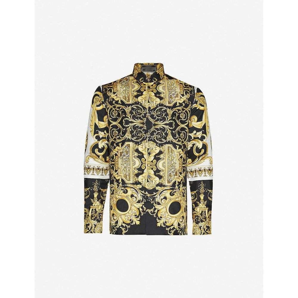 ヴェルサーチ VERSACE メンズ シャツ トップス【Baroque-print silk-satin shirt】Nero Stampa